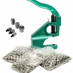Hand Press Eyelet Grommet Machine Punch Tool Kit With 3 Dies 1500 Pcs Grommets