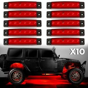 10x Led Under Car Truck Rock Lights Underglow Body Red Neon Accent Lamp Kit Ip68