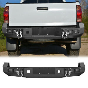 Rear Bumper W Strip Lights D Rings Steel For Toyota Tacoma 2005 2015 Offroad