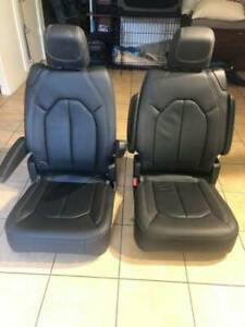2018 2019 2020 Pacifica Stow And Go Seats Black Leather With White Stitches