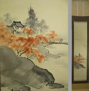 Uk917 Autumn Temple Hanging Scroll Japanese Art Painting Picture Geijyutu
