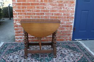 English Antique Oak Small Drop Leaf Table Living Room Furniture
