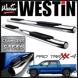 Westin Pro Traxx 4 Stainless Oval Nerf Step Bars Fit 2007 2021 Tundra Crewmax