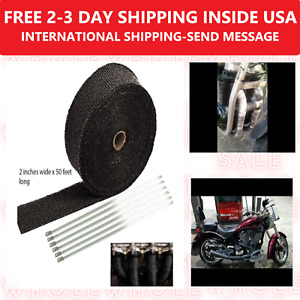 2 50ft Titanium Basalt Manifold Header Exhaust Pipe Heat Wrap Tape 6 Ties Kit