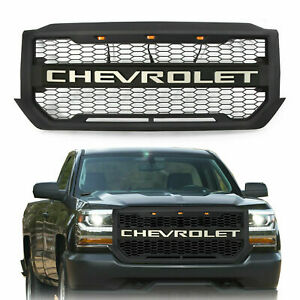 Black Grille Grill For 2016 2018 Chevrolet Silverado1500 W 3 Led Lights Letters