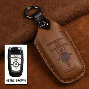 For Ford Mustang Fusion F 150 F 250 Retro Leather Smart Key Fob Shell Cover Case