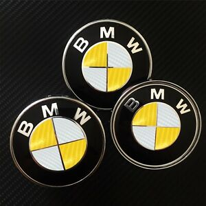 Bmw Carbon Fiber Look Badge Roundel Overlay 1 2 3 5 6 X M F Series Yellow White