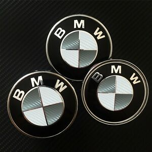 Bmw Carbon Fiber Look Badge Roundel Overlay 1 2 3 5 6 X M F Series Gray White