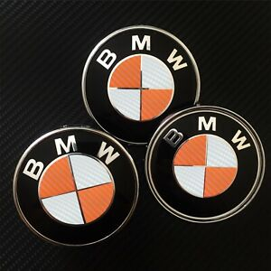 Bmw Carbon Fiber Badge Roundel Overlay 1 2 3 4 5 6 7 X M F Series Orange White