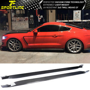 Fits 15 21 Ford Mustang S550 Coupe Jc Style Side Skirts Extension Carbon Fiber