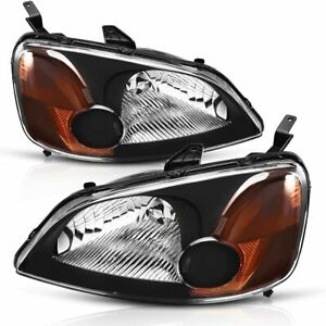 For Honda Civic 2001 2003 Headlights Assembly Replacement Black clear Set Pair