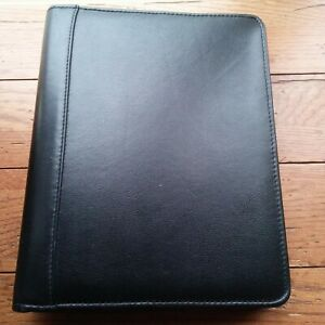 Franklin Covey Quest Black Leather Zipped 7 Ring Binder