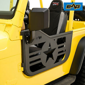 Eag Military Tubular Door With Side View Mirror Fit For 97 06 Jeep Wrangler Tj
