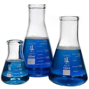 Glass Erlenmeyer Flask Set 3 Sizes 50 150 And 250ml Karter Scientific