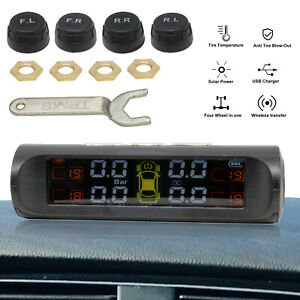 Universal Wireless Solar Tpms Tire Pressure Monitoring System Lcd 4 Ex Sensors