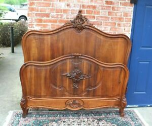 French Antique Carved Walnut Louis Xv Full Size Bed With Rails