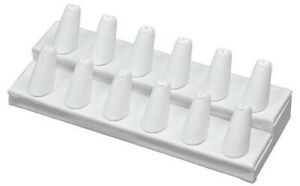 12 Slots White Ring Finger Display Jewelry Holder Retail Showcase Stand