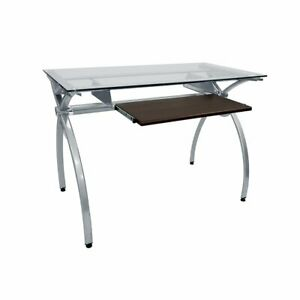 Techni Mobili Computer Workstation Desk With Clear Glass Top And Keyboard Panel
