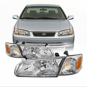 For 2000 2001 Toyota Camry Replacement Chrome Headlights Headlamps Right left