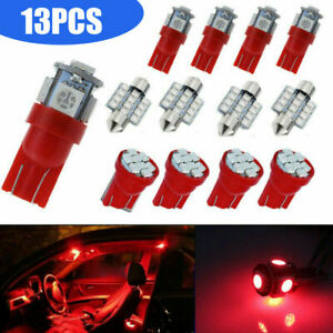 13x Combo Red Led Car Interior Inside Light Dome Map Door License Plate Lights