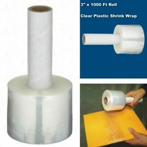Shrink Wrap 3 1000ft Plastic Clear Roll Package Stretch Cover Hand Dispenser