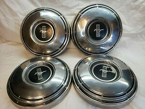 1967 68 69 Ford Mustang Poverty Dog Dish Hubcaps Set Of 4