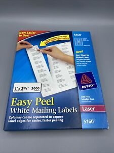 Avery 5160 Easy Peel Address Labels 3000 Count 1 X 2 5 8 Inch White