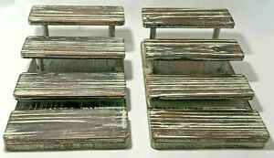 2 Pk Mygift 4 tier Rustic Torched Wood Sunglasses Retail Display Stand Rack Open
