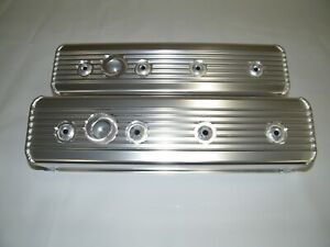 Chevrolet Sbc Tall Aluminum Valve Covers Center Bolt Style Heads Finned 350 383