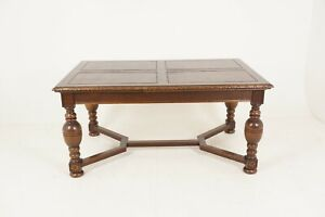 Antique Refectory Table Tiger Oak Draw Leaf Table Dining Table Scotland 1930