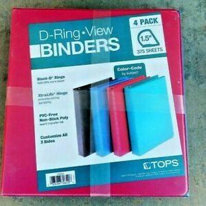 Tops D ring View Binders 4 Pack 1 5 Red Blue Aqua Black New Free Shipping
