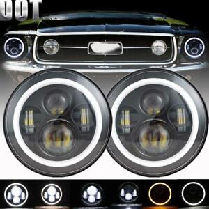 2pcs 7 Round Led Headlights Hi lo Beam Angel Eye Drl For Ford Mustang 1965 1978