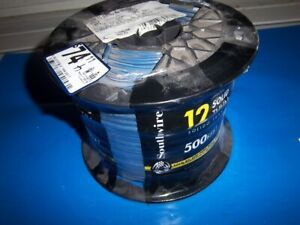Southwire Electrical Wire 500 Ft 12 gauge Thhn Soild Uv heat Resistant Blue