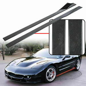 Fits 97 04 Chevy C5 Corvette 75 Inch Side Skirt Extension Carbon Style New
