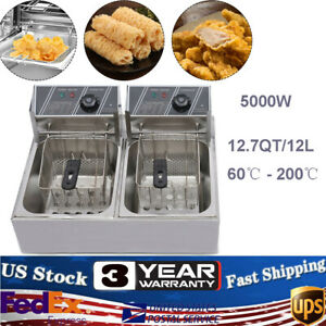 5000w Electric Countertop Deep Fryer Dual Tank Commercial Restaurant 12l
