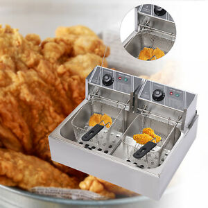5000w Electric Deep Fryer Stainless Steel Dual Tank Restaurant Home 12l 12 9qt