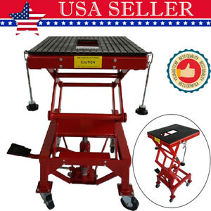 300lb Motorcycle Center Scissor Lift Jack Hoist Stand Dirt Bikes Atv Platform Us