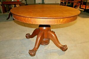 Antique Oak Pedestal Table With Ball Claw Feet 48 Round
