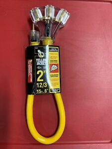 Yellow Jacket 2882 2 Ft 12 3 Sjtw Multi outlet 3 Heavy duty Adapter Extension
