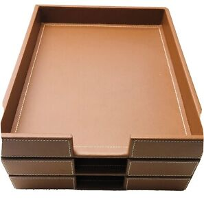 Set 3 Pottery Barn Office Desk Storage Tray Holder Colby Faux Leather Brown Nwt