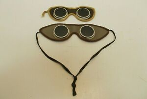 Vintage 2 Pairs Of Leather Welder s Goggles Tinted One W Strap One W out