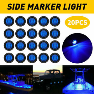 20pcs Round 3 4 Blue Led Clearance Marker Bullet Lights For Auto Truck Trailer