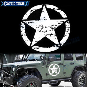 20 White Army Star Distressed Decal Car Hood Side Body Badge For Jeep Wrangler