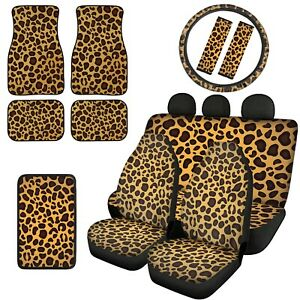 Car Seat Covers Leopard Grain Floor Mats Combo With Steering Wheel Covers 12 14x