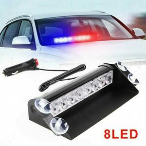 Red Blue 8 Led Car Dash Strobe Flash Light Emergency Police Warning Lamp X 1