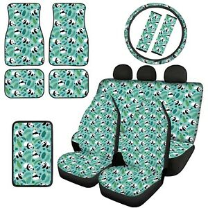 12 14pcs Cartoon Animals Car Front Rear Floor Mats With Seat Covers Armrest Pads