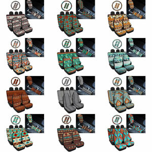 Tribal Boho Car Seat Cover With Seat Belt Cover Interior Protect 9pcs Full Set