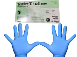200 Count Blue Nitrile Exam Gloves Powder free Tender Touch Size Small