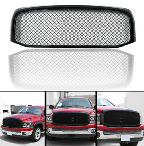 For 06 08 09 Dodge Ram 1500 2500 3500 Grill Gloss Black Mesh Front Bumper Grille
