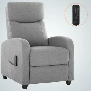Massage Recliner Chair Single Sofa Fabric Padded Seat W Footrest Gray